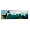 <strong>iCanvasArt</strong> Panoramic Alpaca with Machu Picchu in the Background, Peru Photographic Print on Canvas
