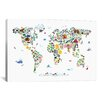 iCanvas 'Animal Map of the World' by Michael Tompsett Graphic Art on Canvas