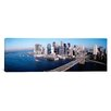 iCanvasArt Panoramic Aerial View of Brooklyn Bridge in Lower Manhattan, New York Photographic Print on Canvas