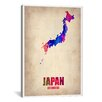 """iCanvasArt Naxart """"Japan Watercolor Map"""" Graphic Art on Canvas"""