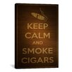 <strong>iCanvasArt</strong> Keep Calm and Smoke Cigars Textual Art on Canvas