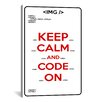 iCanvas Keep Calm and Code On Textual Art on Canvas