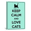 <strong>iCanvasArt</strong> Keep Calm and Love Cats Textual Art on Canvas