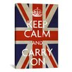 <strong>iCanvasArt</strong> Keep Calm and Carry on (British Flag) Textual Art on Canvas