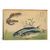 iCanvas Ando Hiroshige 'Horse Mackerel (Aji) with Shrimp of Prawn' by Utagawa Hiroshige l Graphic Art on Canvas
