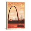 iCanvasArt Gateway to the West, St. Louis, Missouri by Anderson Design Group Vintage Advertisement on Canvas