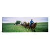 iCanvasArt Panoramic Historical Reenactment of Covered Wagons in a Field, North Dakota Photographic Print on Canvas