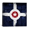 iCanvasArt Indianapolis Flag, Map with Grunge Graphic Art on Canvas