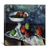 "<strong>iCanvasArt</strong> ""Compotier, Glass and Apples"" Canvas Wall Art by Paul Cezanne"