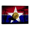 iCanvasArt Dallas, Texas Flag - Cowboy Horse Grunge Cactus Graphic Art on Canvas