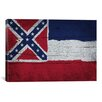 <strong>iCanvasArt</strong> Mississippi Flag, Wood Planks Graphic Art on Canvas