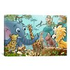 <strong>iCanvasArt</strong> Kids Children Jungle Cartoon Animals Canvas Wall Art