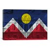 iCanvas Denver Flag, Union Station with Wood Planks Graphic Art on Canvas