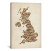 iCanvas 'Great Britain UK City Text Map II' by Michael Tompsett Textual Art on Canvas