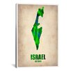 iCanvas Naxart Israel Watercolor Map Graphic Art on Canvas