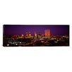 iCanvasArt Panoramic Skyscrapers Lit Up at Night Dallas, Texas Photographic Print on Canvas