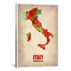 iCanvasArt Naxart Italy Watercolor Map Graphic Art on Canvas