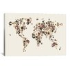 iCanvas 'Flower World Map (Sepia)' by Michael Tompsett Graphic Art on Canvas