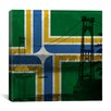 iCanvas Portland Flag, Vintage St. Johns Bridge Graphic Art on Canvas