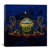 iCanvas Pennsylvania Flag Grunge City Skyline Philadelphia Graphic Art on Canvas
