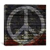 <strong>iCanvasArt</strong> Peace Sign, USA Flag, Brick Wall Graphic Art on Canvas
