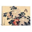 <strong>iCanvasArt</strong> 'Peonies and Butterfly' by Katsushika Hokusai Painting Print on Canvas