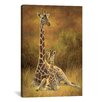 <strong>iCanvasArt</strong> Decorative Art 'Mother and Son (Giraffe)' by Lucie Bilodeau Painting Print on Canvas