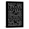 iCanvas 'World Cities Bus Roll II' by Michael Tompsett Textual Art on Canvas