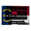 """iCanvasArt North Carolina Flag, """"Welcome To"""" Sign Grudge Graphic Art on Canvas"""