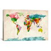 iCanvasArt 'World Map Watercolors III' by Michael Tompsett Painting Print on Canvas