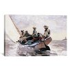 <strong>iCanvasArt</strong> 'Sailing the Catboat 1873' by Winslow Homer Painting Print on Canvas