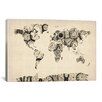 iCanvas 'Map of the World Map from Old Clocks' by Michael Tompsett Graphic Art on Canvas
