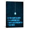 iCanvasArt 'Light a Lamp' by Budi Satria Kwan Textual Art on Canvas