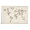 iCanvas 'Map of the World Map Floral Swirls' by Michael Tompsett Graphic Art on Canvas
