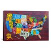 iCanvas Decorative Art 'License Plate Map USA' by David Bowman Graphic Art on Canvas