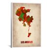 iCanvasArt Naxart 'Los Angeles Watercolor Map' Graphic Art on Canvas