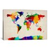 iCanvasArt 'Map of The World IV' by Michael Tompsett Painting Print on Canvas