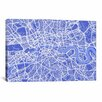 <strong>iCanvasArt</strong> 'London Map IV' by Michael Thompsett Graphic Art on Canvas