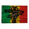 "iCanvasArt Flags Los Angeles, California - ""Rodeo Drive"" Sign Grunge Graphic Art on Canvas"
