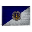 iCanvas Long Beach Flag, Wood Planks with Grunge Graphic Art on Canvas