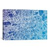 <strong>iCanvasArt</strong> 'London Street Map (Blue II)' by Michael Tompsett Graphic Art on Canvas