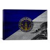 iCanvasArt Long Beach Flag, Beach with Wood Planks Graphic Art on Canvas