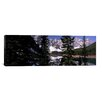 iCanvasArt Panoramic Lake in Front of Mountains, Banff, Alberta, Canada Photographic Print on Canvas