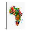 iCanvasArt 'Paint Splashes Map of Africa' by Michael Tompsett Painting Print on Canvas