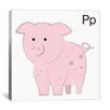 <strong>iCanvasArt</strong> Kids Art P is for Pig Painting Print Canvas Wall Art