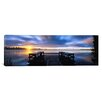 iCanvasArt Panoramic Panoramic View of a Pier at Dusk, Vuoksi River, Imatra, Finland Photographic Print on Canvas