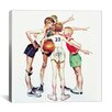 iCanvasArt 'Oh Yeah (Four Sporting Boys: Basketball)' by Norman Rockwell Painting Print on Canvas