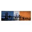 iCanvas Flags New York Brooklyn Bridge Panoramic Photographic Print on Canvas