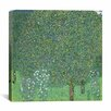 "iCanvasArt ""Rosebushes Under the Trees"" Canvas Wall Art by Gustav Klimt"