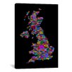 iCanvasArt Great Britain UK City Map by Michael Tompsett Textual Art on Canvas in Black